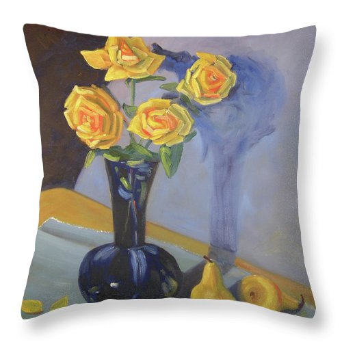 Floral Throw Pillow featuring the painting Yellow Roses And Pears by Lilibeth Andre