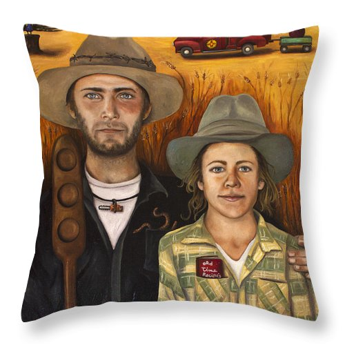 Zeb Throw Pillow featuring the painting Zeb And Ellen by Leah Saulnier The Painting Maniac