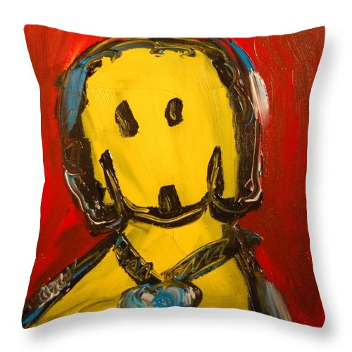 Landscape Framed Prints Throw Pillow featuring the mixed media DOG by Mark Kazav