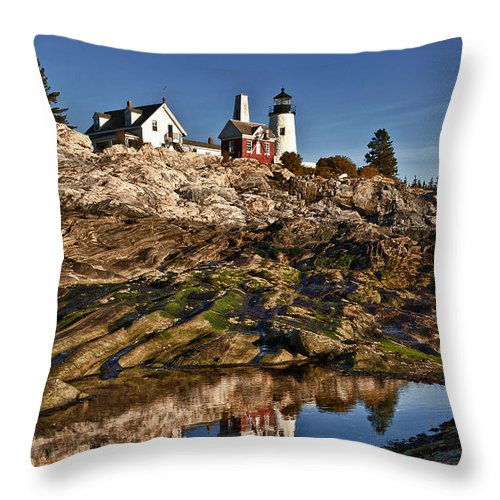 Bristol Throw Pillow featuring the photograph Pemaquid Point Lighthouse by John Greim