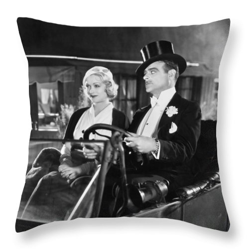 -transportation: Automobiles- Throw Pillow featuring the photograph Silent Film: Automobiles by Granger