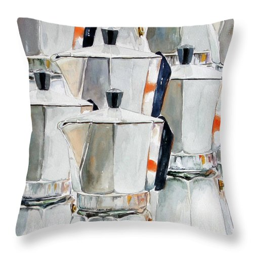 Still Life Throw Pillow featuring the painting 11 Moka by Giovanni Marco Sassu