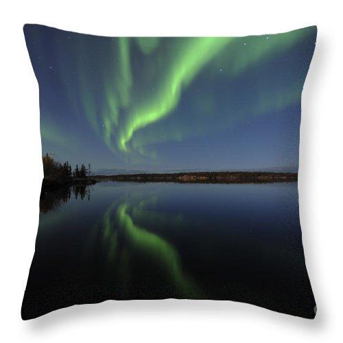 Yellowknife Throw Pillow featuring the photograph Aurora Borealis Over Long Lake by Jiri Hermann