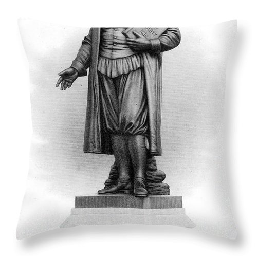 American Throw Pillow featuring the photograph Roger Williams (1603-1683) by Granger