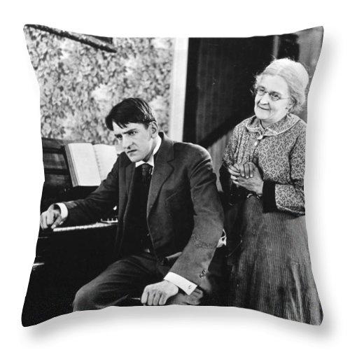 -ecq- Throw Pillow featuring the photograph Silent Still: Man & Woman by Granger