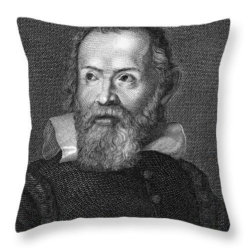 Astronomer Throw Pillow featuring the photograph Galileo Galilei (1564-1642) by Granger