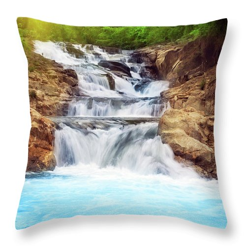 Cascade Throw Pillow featuring the photograph Waterfall by MotHaiBaPhoto Prints
