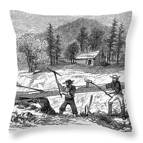 1850s Throw Pillow featuring the photograph California Gold Rush by Granger