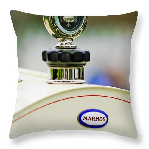 1914 Marmon 41 Speedster Throw Pillow featuring the photograph 1914 Marmon 41 Speedster Hood Ornament by Jill Reger