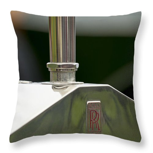 1914 Rolls-royce Silver Ghost Alpine Eagle Portholme Torpedo Throw Pillow featuring the photograph 1914 Rolls-royce Silver Ghost Hood Ornament by Jill Reger