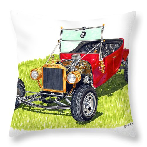 1923 Ford T Bucket Open Wheel Hot Rod Throw Pillow featuring the painting 1923 T Bucket by Jack Pumphrey
