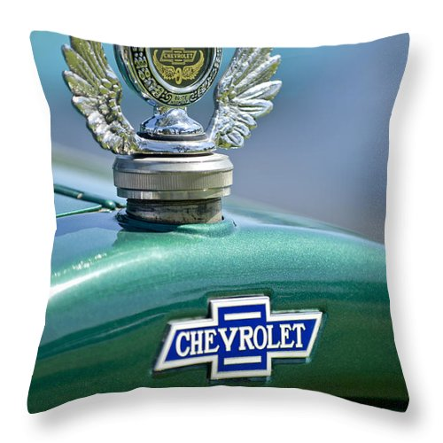 1928 Chevrolet Stake Bed Pickup Throw Pillow featuring the photograph 1928 Chevrolet Stake Bed Pickup Hood Ornament by Jill Reger