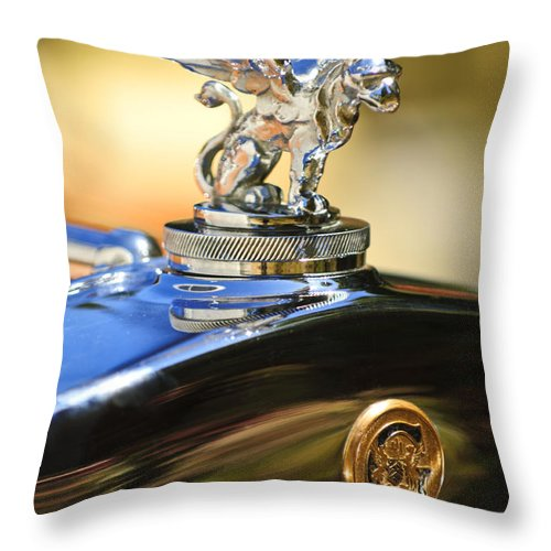 1929 Gardner Series 120 Eight-in-line Roadster Throw Pillow featuring the photograph 1929 Gardner Series 120 Eight-in-line Roadster Hood Ornament by Jill Reger