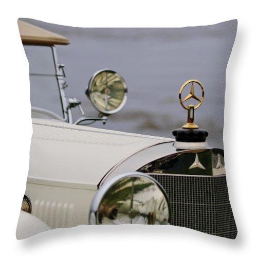 1929 Mercedes-benz S Tourer Throw Pillow featuring the photograph 1929 Mercedes-benz S Tourer Hood Ornament by Jill Reger