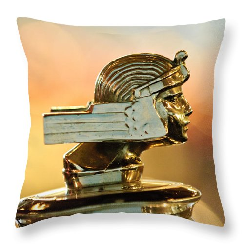 1929 Stutz Series M Four-passenger Dual-cowl Speedster Throw Pillow featuring the photograph 1929 Stutz Series M Four-passenger Dual-cowl Speedster Hood Ornament by Jill Reger