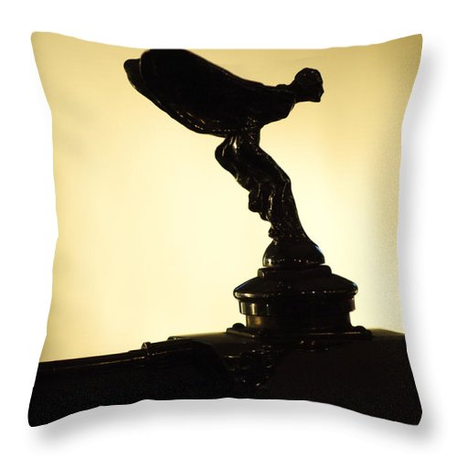 1933 Rolls-royce 20-25hp Two Door Sports Coupe Throw Pillow featuring the photograph 1933 Rolls-royce 20-25hp Two Door Sports Coupe Hood Ornament by Jill Reger