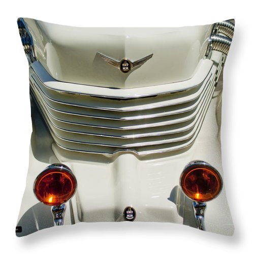 1937 Cord 812 Sc Phaeton Throw Pillow featuring the photograph 1937 Cord 812 Sc Phaeton Grille by Jill Reger
