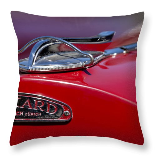 1937 Packard 115-c Cabriolet Throw Pillow featuring the photograph 1937 Packard 115-c Cabriolet Hood Ornament by Jill Reger