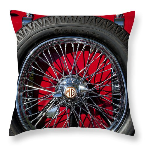 1938 Mg Ta Throw Pillow featuring the photograph 1938 Mg Ta Spare Tire by Jill Reger
