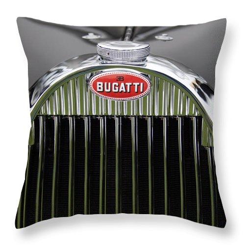 1939 Bugatti Type 57 Galibier Sports Saloon Throw Pillow featuring the photograph 1939 Bugatti Type 57 Galibier Sports Saloon Hood Emblem by Jill Reger