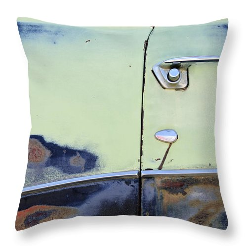1950 Ford Crestliner Throw Pillow featuring the photograph 1950 Ford Crestliner Door Handle by Jill Reger