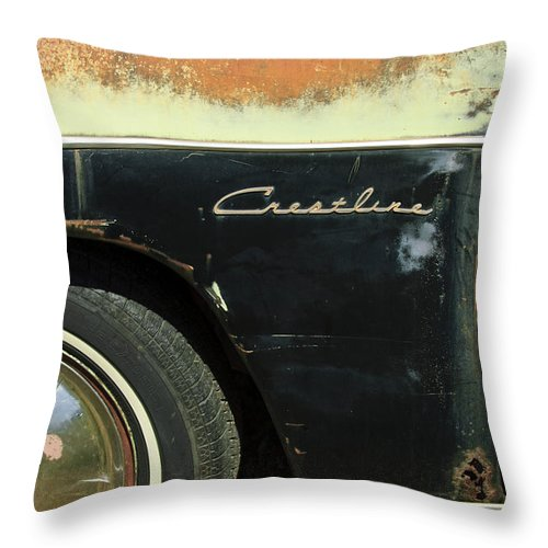 1950 Ford Crestliner Throw Pillow featuring the photograph 1950 Ford Crestliner Wheel Emblem by Jill Reger