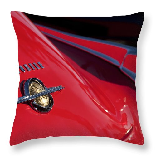 1950 Oldsmobile Rocket 88 Throw Pillow featuring the photograph 1950 Oldsmobile Rocket 88 Rear Emblem And Taillight by Jill Reger