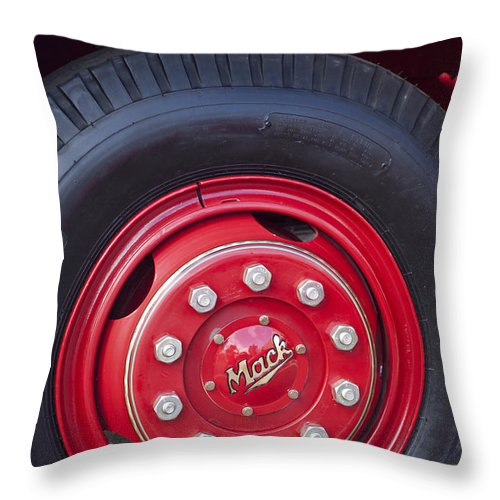 1952 L Model Mack Pumper Fire Truck Throw Pillow featuring the photograph 1952 L Model Mack Pumper Fire Truck Wheel 2 by Jill Reger