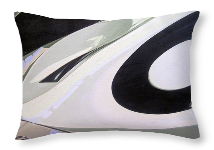 1954 Mercedes W196 Streamliner Throw Pillow featuring the painting 1954 Mercedes W196 Streamliner by Jeff Taylor