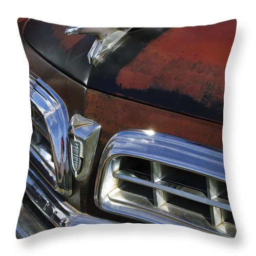 1955 Chrysler Throw Pillow featuring the photograph 1955 Chrysler Hood Ornament by Jill Reger