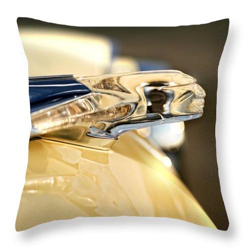 1955 Throw Pillow featuring the photograph 1955 Pontiac Star Chief Hood Ornament by Gordon Dean II