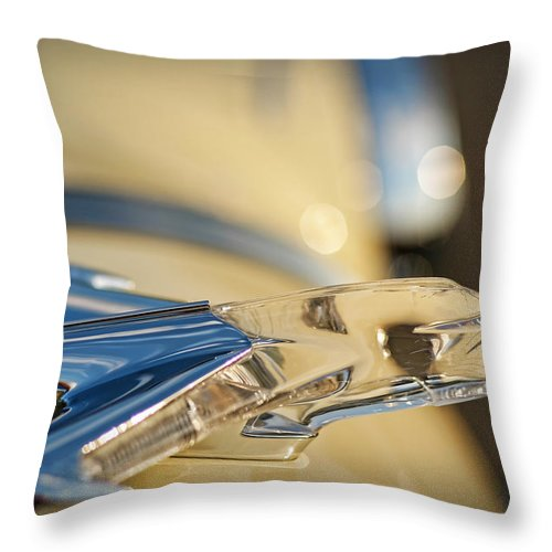 1955 Throw Pillow featuring the photograph 1955 Pontiac Star Chief Hood Ornament by Gordon Dean II