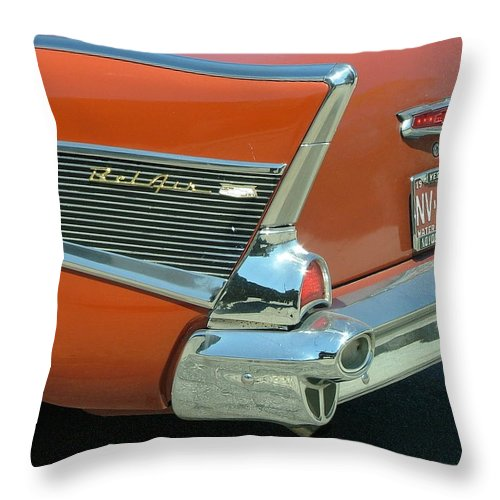 Car Throw Pillow featuring the photograph 1957 Chevy Belair by Dennis Pintoski