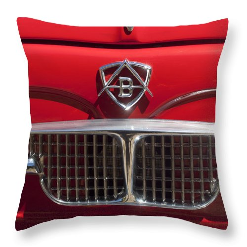 1960 Autobianchi Bianchina Transformabile Coupe Throw Pillow featuring the photograph 1960 Autobianchi Bianchina Transformabile Coupe Hood Emblem by Jill Reger