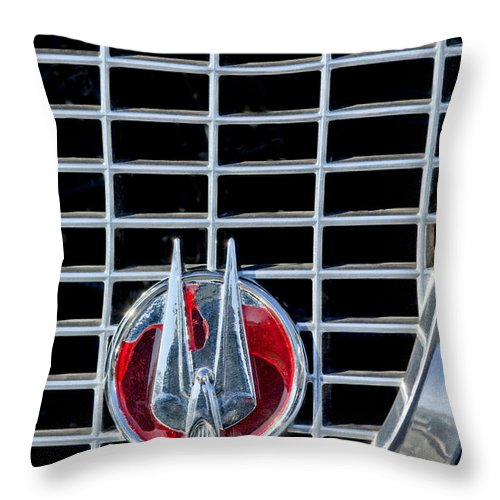 1960 Studebaker Hawk Coupe Throw Pillow featuring the photograph 1960 Studebaker Hawk Coupe Emblem by Jill Reger