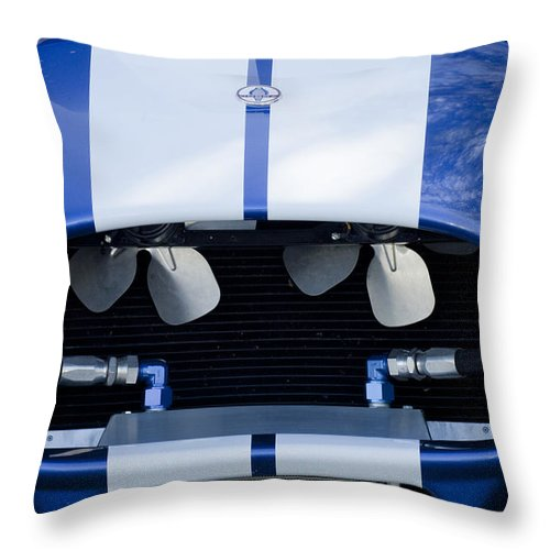 1965 Cobra Sc Throw Pillow featuring the photograph 1965 Cobra Sc Grille by Jill Reger