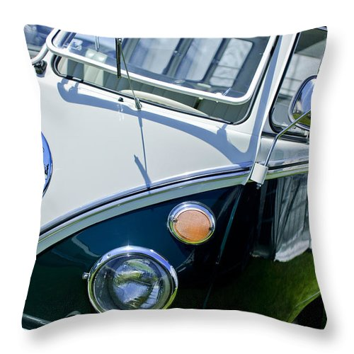 1966 Volkswagen Vw Microbus Throw Pillow featuring the photograph 1966 Volkswagen Vw Microbus by Jill Reger