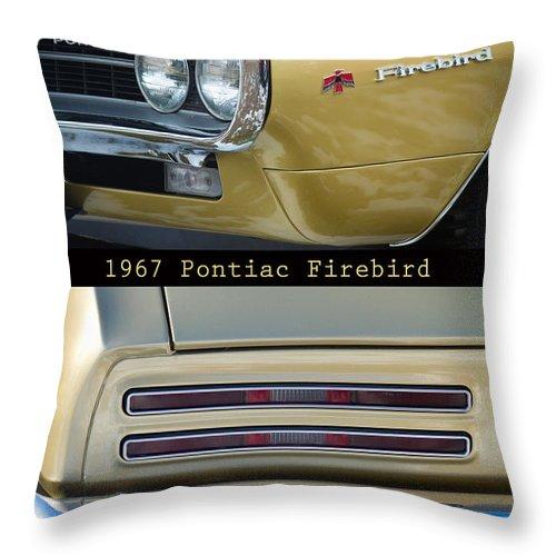 1967 Throw Pillow featuring the photograph 1967 Bronze Pontiac Firebird Poster S by James BO Insogna