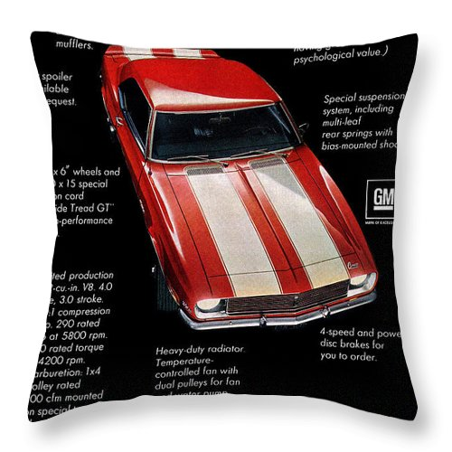1969 Throw Pillow featuring the digital art 1968 Chevrolet Z/28 Camaro by Digital Repro Depot