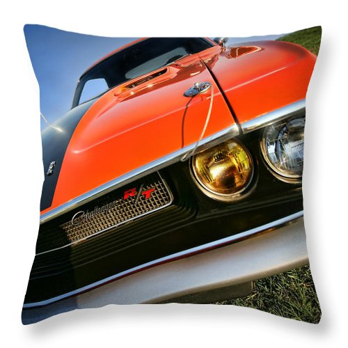 1970 Throw Pillow featuring the photograph 1970 Dodge Challenger Rt Hemi Orange by Gordon Dean II