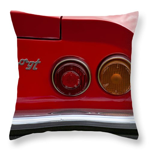 1972 Ferrari Dino 246gt Throw Pillow featuring the photograph 1972 Ferrari Dino 246gt Taillight Emblem by Jill Reger
