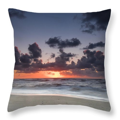 Beach Throw Pillow featuring the photograph A Beach During Sunset With Glowing Sky by U Schade