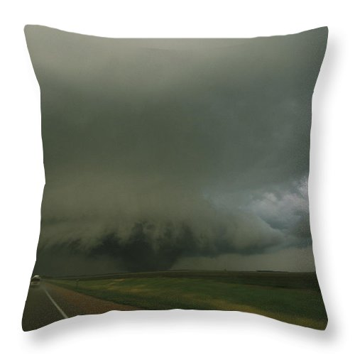 North America Throw Pillow featuring the photograph A Massive F4 Category Tornado Rampages by Carsten Peter