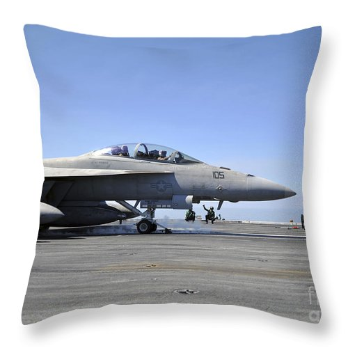 Operation Enduring Freedom Throw Pillow featuring the photograph A Shooter Signals The Launch Of An by Stocktrek Images