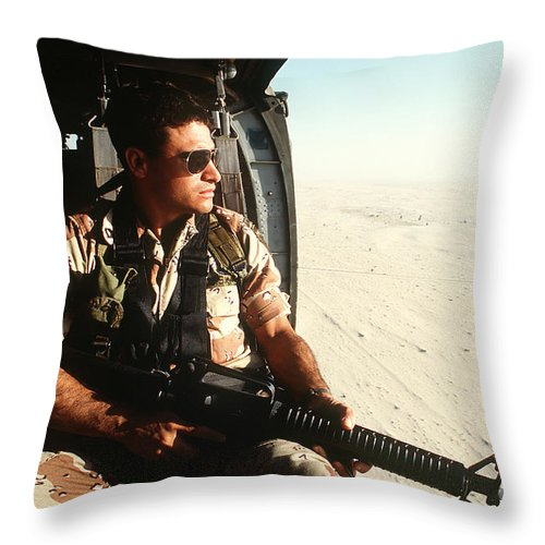 Horizontal Throw Pillow featuring the photograph A Soldier Scans The Horizon by Stocktrek Images