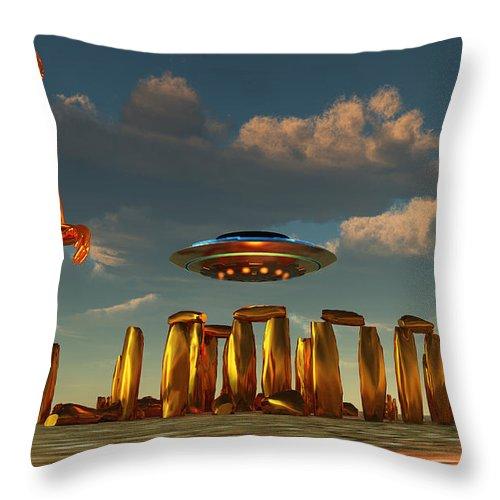 Horizontal Throw Pillow featuring the digital art Alien Interdimensional Beings Recharge by Mark Stevenson