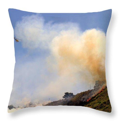 Ash Throw Pillow featuring the photograph Barnett Fire by Henrik Lehnerer