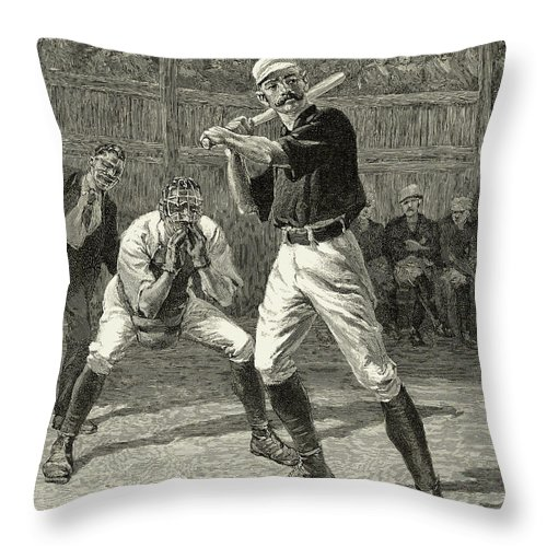 1888 Throw Pillow featuring the photograph Baseball, 1888 by Granger