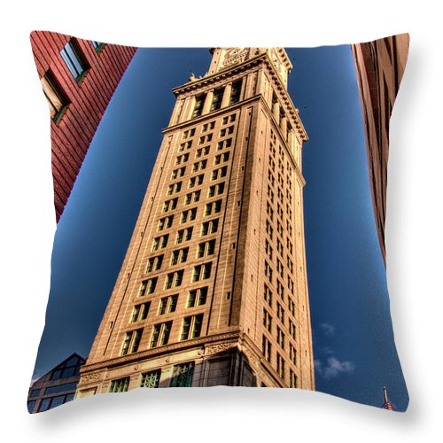 Boston Custom House Throw Pillow featuring the photograph Boston Custom House by Mark Valentine
