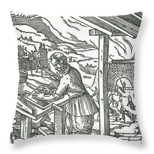 brick maker medieval tradesman throw pillow for sale by science source